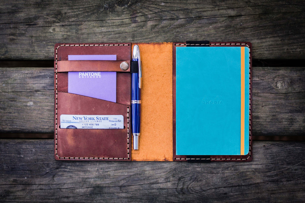 Leather Rhodia A6 Notebook Cover - Crazy Horse Tan-Galen Leather