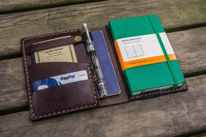 Leather Rhodia A6 Notebook Cover - Dark Brown-Galen Leather