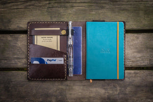 Leather Rhodia A6 Notebook Cover - Dark Brown - GalenLeather - 1