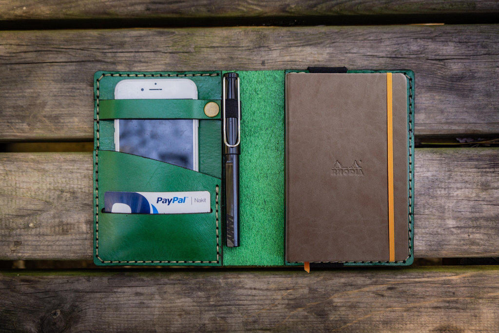 Leather Rhodia A6 Notebook Cover - Green-Galen Leather
