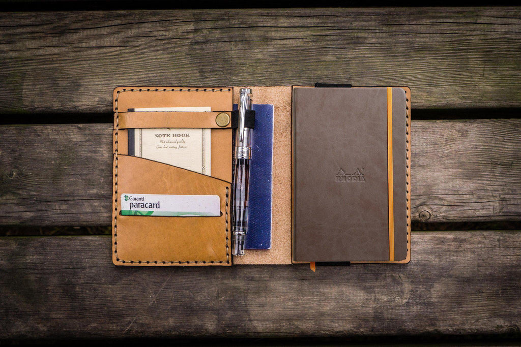 Leather Rhodia A6 Notebook Cover - Natural-Galen Leather