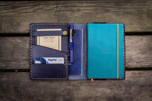 Leather Rhodia A6 Notebook Cover - Navy Blue - GalenLeather - 1