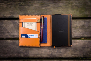 Leather Rhodia A6 Notebook Cover - Orange - GalenLeather - 1