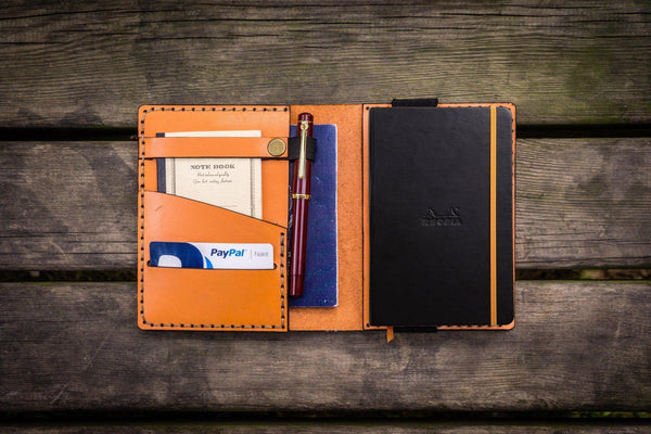 Leather Rhodia A6 Notebook Cover - Orange-Galen Leather