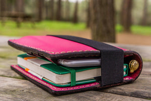 Leather Rhodia A6 Notebook Cover - Pink-Galen Leather