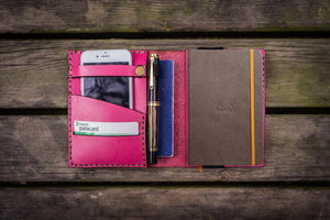 Leather Rhodia A6 Notebook Cover - Pink - GalenLeather - 1