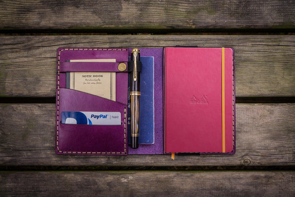 Leather Rhodia A6 Notebook Cover - Purple-Galen Leather