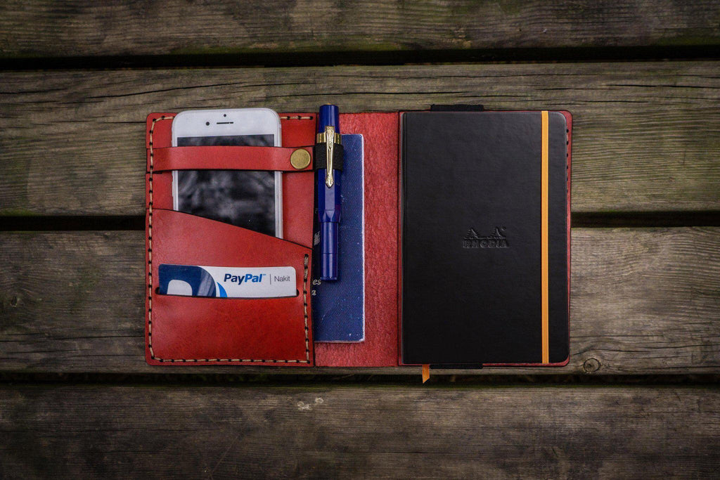 Leather Rhodia A6 Notebook Cover - Red-Galen Leather