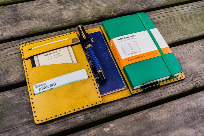 Leather Rhodia A6 Notebook Cover - Yellow-Galen Leather