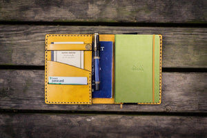 Leather Rhodia A6 Notebook Cover - Yellow - GalenLeather - 1