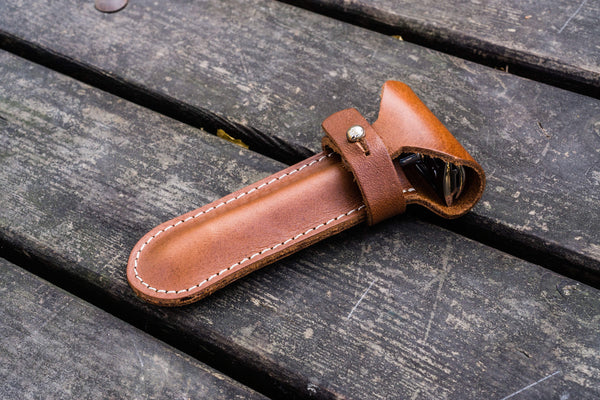 Leather Razor Case - Brown-Galen Leather