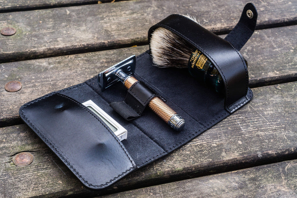 Leather Shaving Travel Kit - Black-Galen Leather