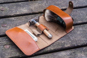 Leather Shaving Travel Kit - Brown-Galen Leather