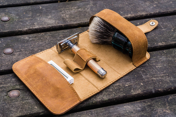 Leather Shaving Travel Kit - Crazy Horse Brown-Galen Leather