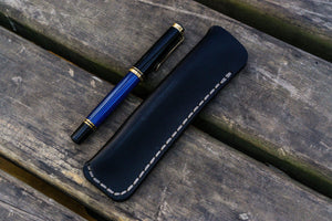 Leather Single Fountain Pen Case / Pen Pouch - Black-Galen Leather