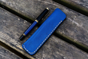 Leather Single Fountain Pen Case / Pen Pouch - Blue-Galen Leather