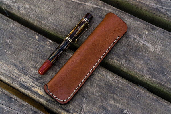 Leather Single Fountain Pen Case / Pen Pouch - Brown-Galen Leather