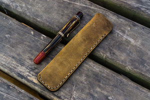 Leather Single Fountain Pen Case / Pen Pouch - Crazy Horse Brown-Galen Leather