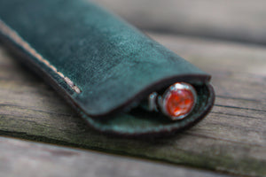 Leather Single Fountain Pen Case / Pen Pouch - Crazy Horse Forest Green-Galen Leather