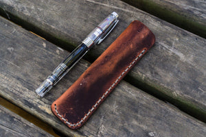 Leather Single Fountain Pen Case / Pen Pouch - Crazy Horse Orange-Galen Leather