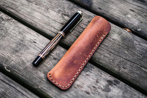 Leather Single Fountain Pen Case / Pen Pouch - Crazy Horse Tan-Galen Leather
