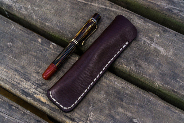 Leather Single Fountain Pen Case / Pen Pouch - Dark Brown-Galen Leather