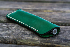 Leather Single Fountain Pen Case / Pen Pouch - Green-Galen Leather