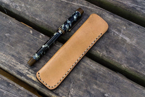 Leather Single Fountain Pen Case / Pen Pouch - Natural-Galen Leather