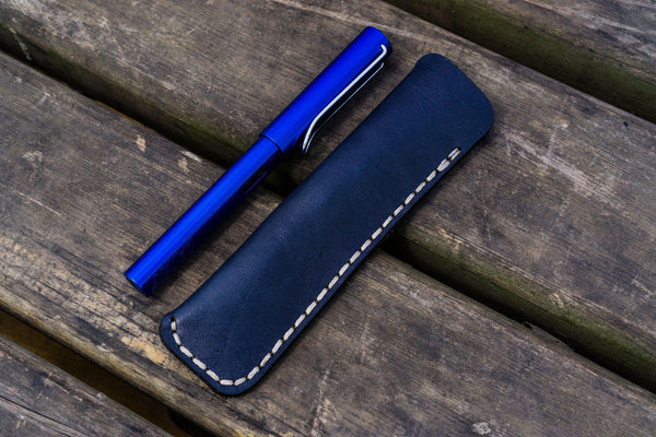 Leather Single Fountain Pen Case / Pen Pouch - Navy Blue-Galen Leather