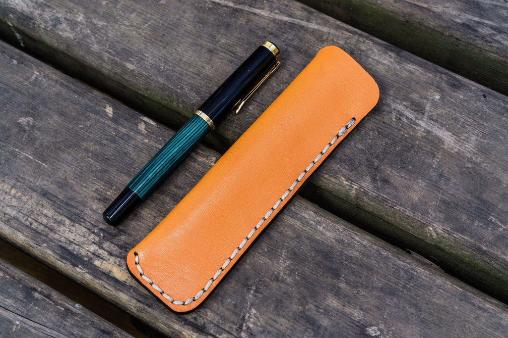 Leather Single Fountain Pen Case / Pen Pouch - Orange-Galen Leather