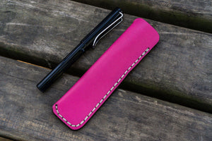 Leather Single Fountain Pen Case / Pen Pouch - Pink-Galen Leather