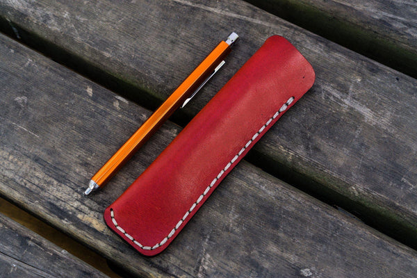 Leather Single Fountain Pen Case / Pen Pouch - Red-Galen Leather