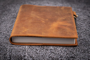 Leather Slim A5 Notebook / Planner Cover - Crazy Horse Brown-Galen Leather