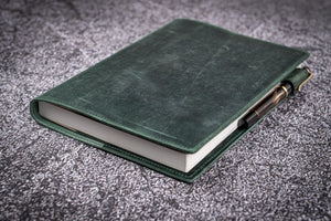 Leather Slim A5 Notebook / Planner Cover - Crazy Horse Forest Green-Galen Leather