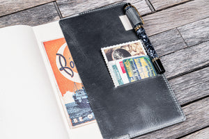 Leather Slim A5 Notebook / Planner Cover - Crazy Horse Smoky-Galen Leather