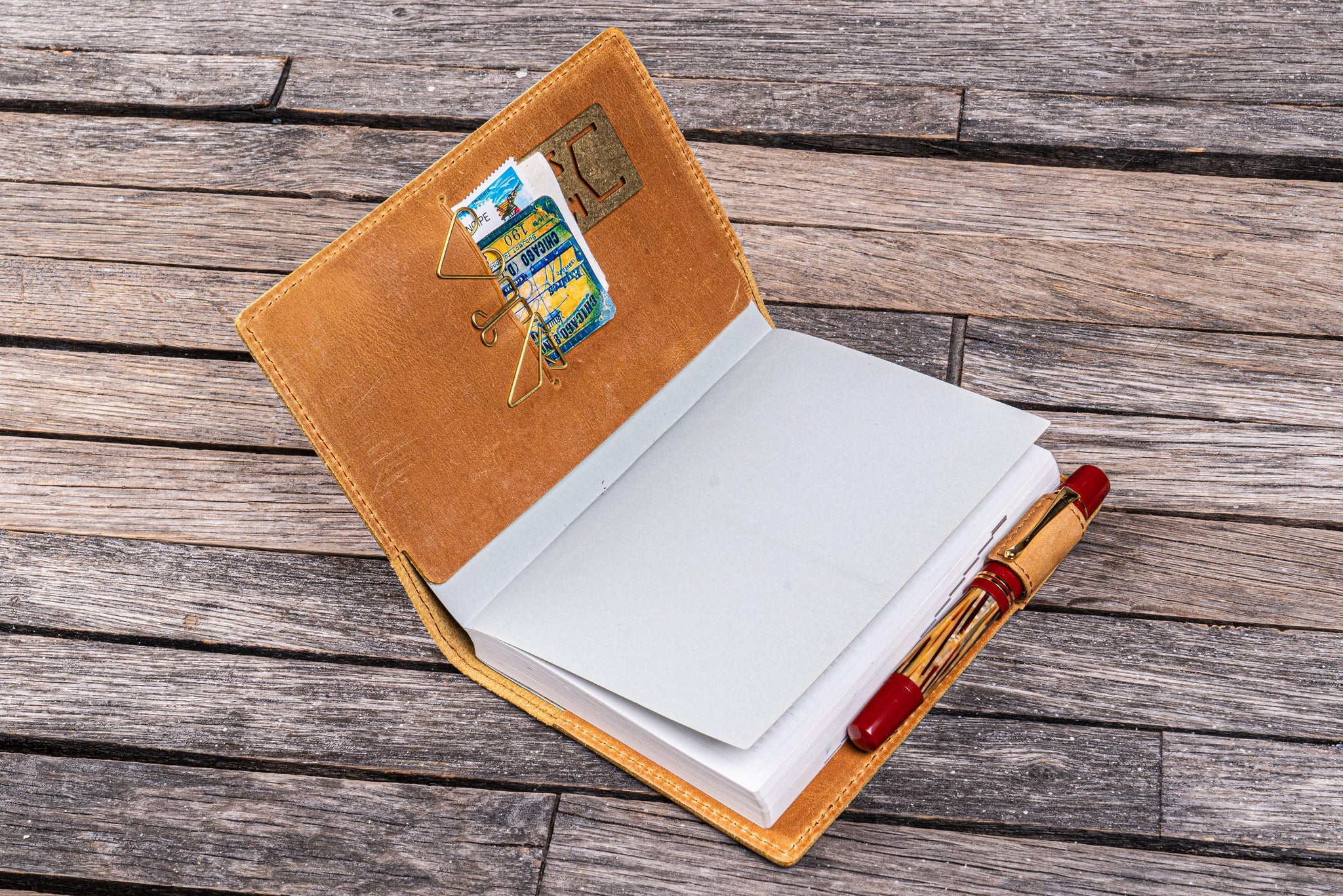 Crazy Horse Brown Leather Slim A6 Notebook  Planner Cover