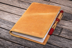 Leather Slim A6 Notebook / Planner Cover - Crazy Horse Honey Ochre-Galen Leather
