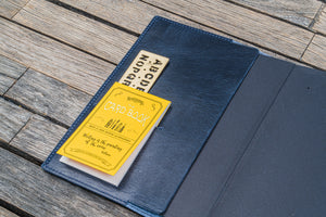 Leather Slim B6 Notebook / Planner Cover - Crazy Horse Navy Blue-Galen Leather