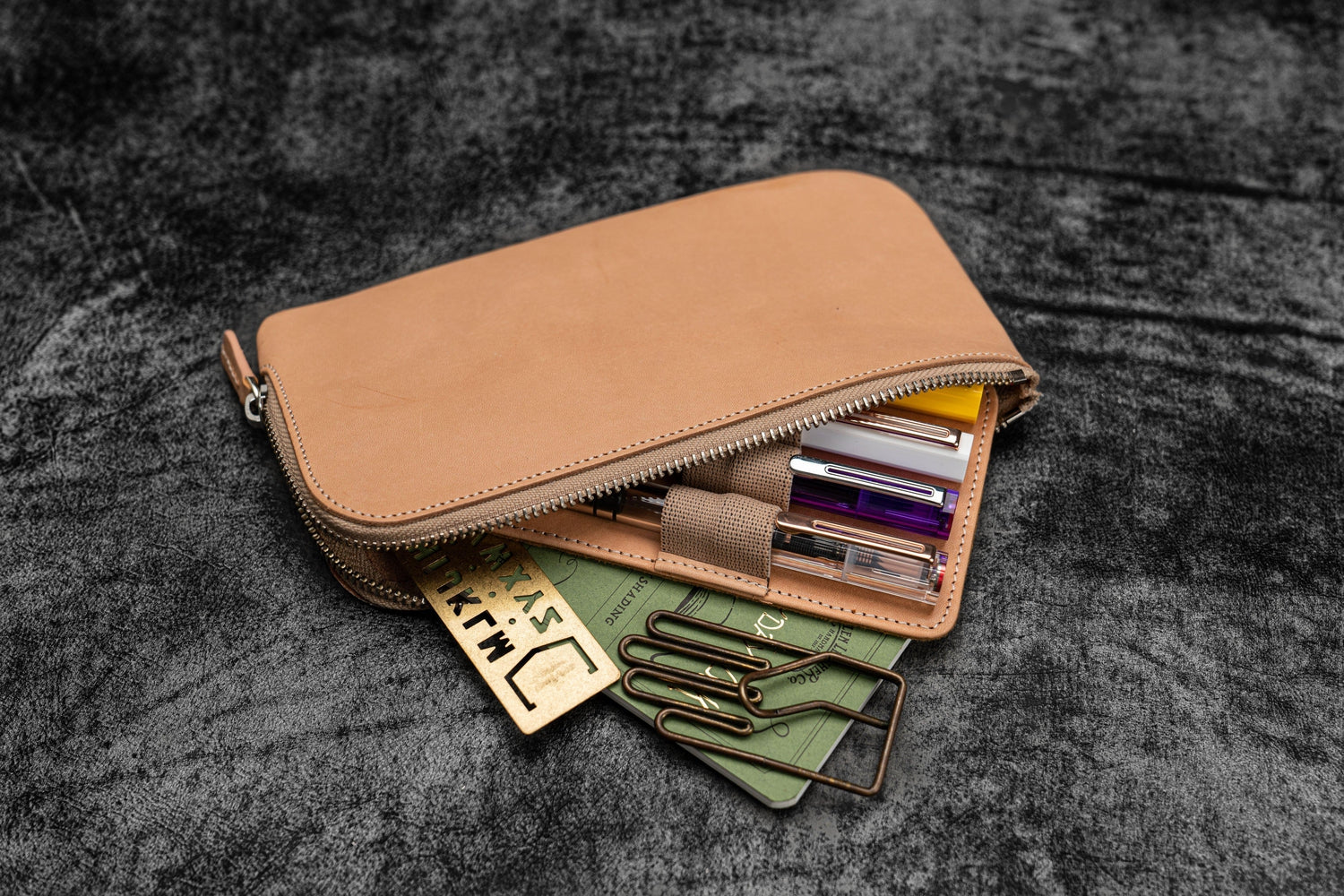 Leather Slip-N-Zip 4 Slots Zippered Pen Pouch - Undyed Leather-Galen Leather