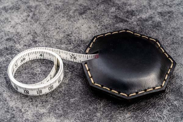 Black Leather Tape Measure Octagon - Galen Leather