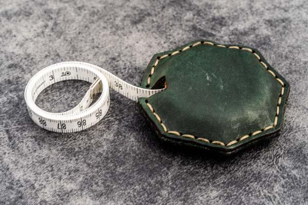 Crazy Horse Forest Green Leather Tape Measure Octagon - Galen Leather
