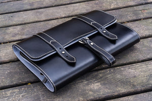 Leather Toiletry Bag - Black-Galen Leather