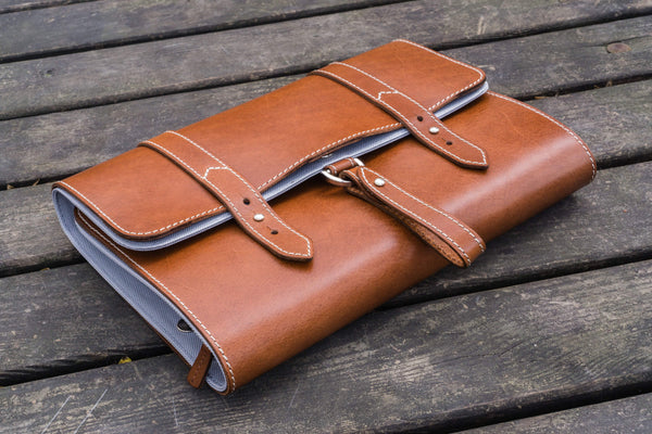 Leather Toiletry / Travel Bag - Brown-Galen Leather