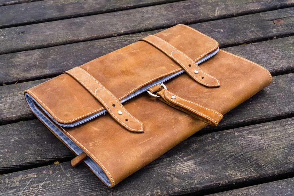 Leather Toiletry / Travel Bag - Crazy Horse Brown-Galen Leather