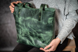 Leather Tote Bag - Crazy Horse Forest Green-Galen Leather