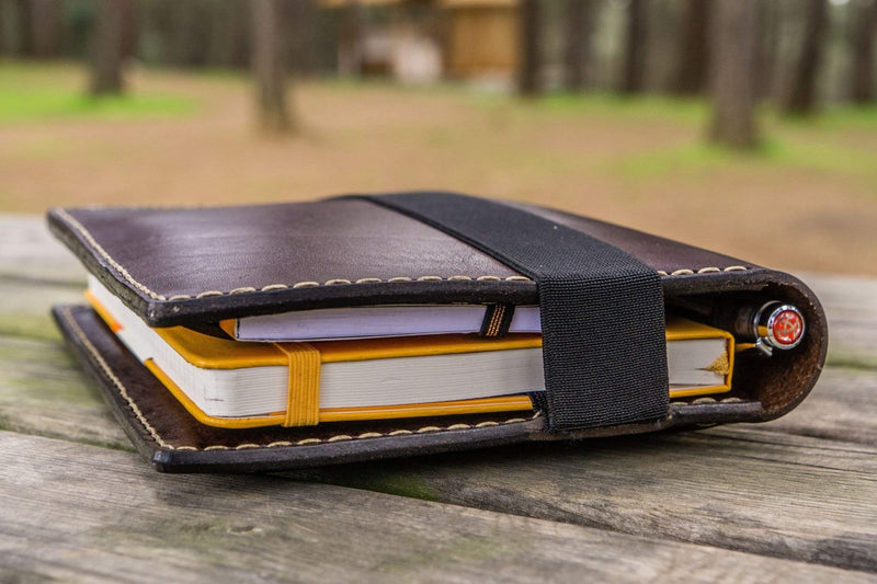 Leather Travel Journal for iPad Mini & Large Moleskine - Dark Brown-Galen Leather