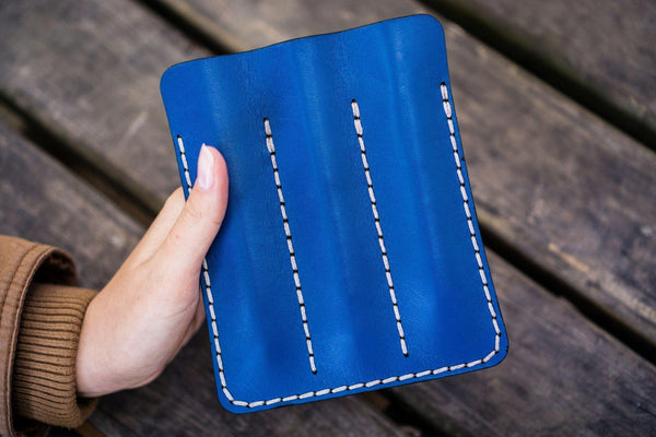 Leather Triple Fountain Pen Case / Pen Pouch - Blue-Galen Leather