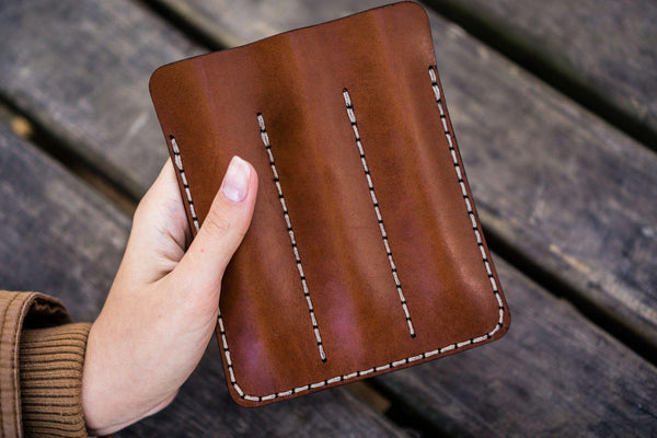 Leather Triple Fountain Pen Case / Pen Pouch - Brown-Galen Leather