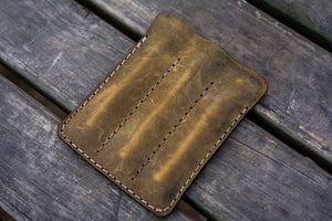 Leather Triple Fountain Pen Case / Pen Pouch - Crazy Horse Brown-Galen Leather