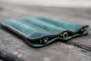 Leather Triple Fountain Pen Case / Pen Pouch - Crazy Horse Forest Green-Galen Leather